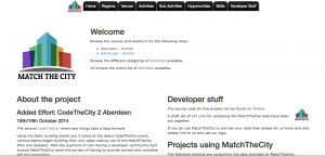 MatchTheCity homepage showing the start of the developer community