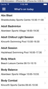 Development version of Active Aberdeen iPhone app showing list of activities for the day